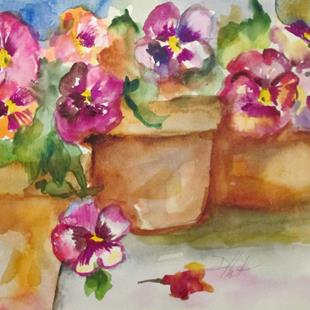 Art: Pots of Pansies by Artist Delilah Smith