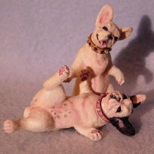 Art: Pair Of French Bulldogs, Pearl and Piper by Artist Camille Meeker Turner
