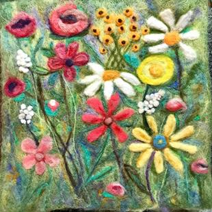 Art: Needle Felted Floral Medley  2 D Sculpture by Artist Ulrike 'Ricky' Martin