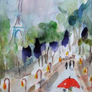 Art: Paris in the Rain by Artist Delilah Smith