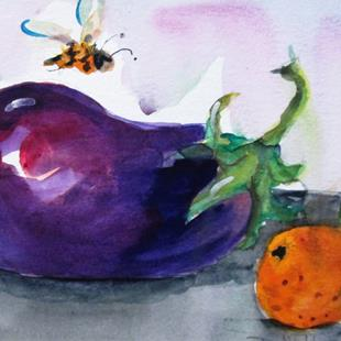 Art: Eggplant and Orange by Artist Delilah Smith