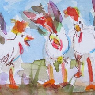 Art: Three Hens Aceo by Artist Delilah Smith
