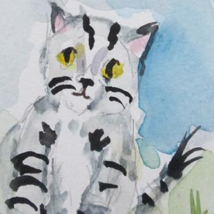 Art: Gray Stripped Kitty by Artist Delilah Smith