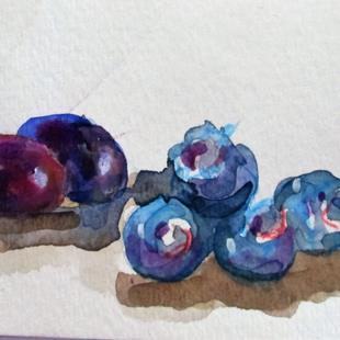Art: Grapes and Blueberries by Artist Delilah Smith