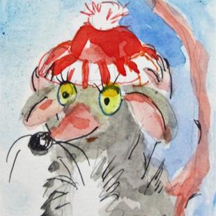 Art: Mouse in a Red Hat by Artist Delilah Smith
