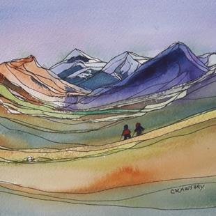 Art: Hike more. Worry less.  (sold) by Artist Kathy Crawshay