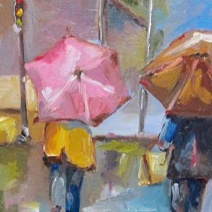 Art: A Walk in the Rain by Artist Delilah Smith