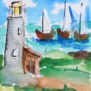 Art: Lighthouse and Sailboat by Artist Delilah Smith