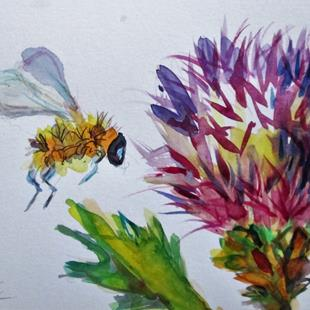 Art: Thistle and Bee by Artist Delilah Smith