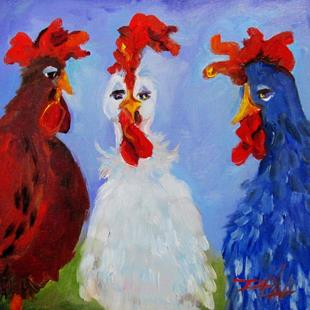 Art: Red White and Blue Chickens by Artist Delilah Smith