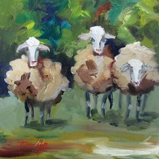 Art: Three Fuzzy Sheep by Artist Delilah Smith