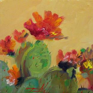 Art: Prickly Pear and Flowers by Artist Delilah Smith