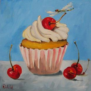 Art: Cupcake Dragonfly and Cherries by Artist Delilah Smith