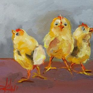 Art: Yellow Fluffy Chicks by Artist Delilah Smith
