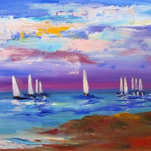 Art: Sails at Sunset by Artist Delilah Smith