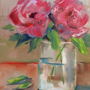 Art: Two Roses by Artist Delilah Smith