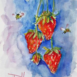 Art: Strawberries and Bees by Artist Delilah Smith