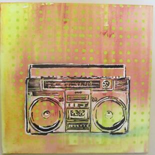 Art: 80's BoomBox Retro Original Graffiti Spray Paint Pop Art by Artist Paul Lake, Lucky Studios