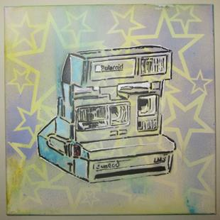 Art: 80's Polaroid cam Retro Original Graffiti Spray Paint Pop Art by Artist Paul Lake, Lucky Studios