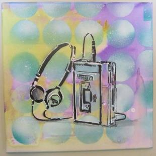 Art: 80's Walkman Retro Original Graffiti Spray Paint Pop Art by Artist Paul Lake, Lucky Studios