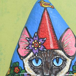 Art: Catty Gnome & Bird by Artist Melinda Dalke