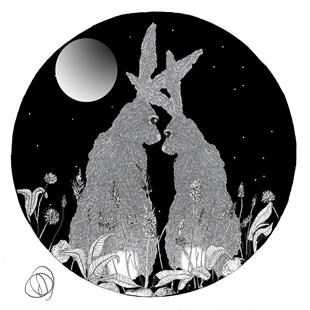Art: HARES IN LOVE - circle by Artist Dawn Barker