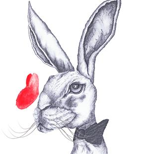 Art: HARE IN BOW TIE h4890 by Artist Dawn Barker