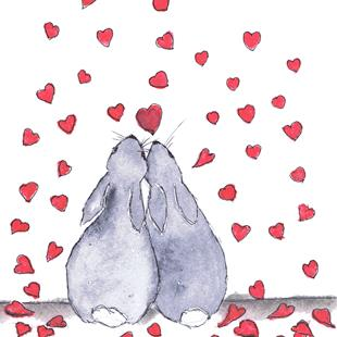 Art: HARES IN LOVE h2331 by Artist Dawn Barker