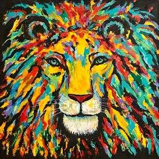 Art: Abstract Lion by Artist Ulrike 'Ricky' Martin