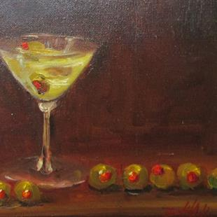 Art: Martini and Row of Olives by Artist Delilah Smith