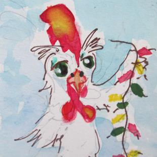 Art: Rooster and Firecrackers-sold by Artist Delilah Smith