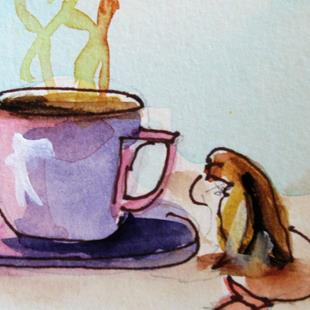 Art: Cup and Tea Bag by Artist Delilah Smith
