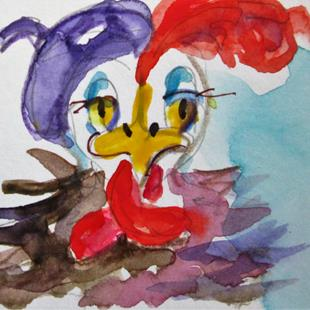 Art: French Hen No. 5 aceo by Artist Delilah Smith