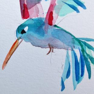Art: Blue Hummingbird by Artist Delilah Smith