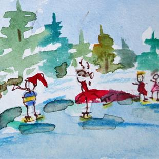 Art: Ice Skaters by Artist Delilah Smith