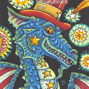 Art: FIREWORKS AND DRAGON by Artist Susan Brack