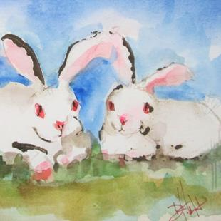 Art: Two Rabbits by Artist Delilah Smith
