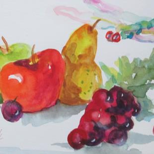 Art: Fruit Still Life with Dragonfly by Artist Delilah Smith
