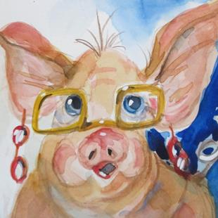 Art: High Fashion Pig by Artist Delilah Smith