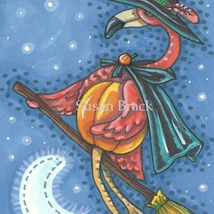 Art: OVER THE MOON FLAMINGO by Artist Susan Brack