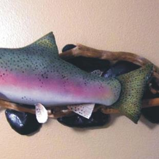 Art: Steelhead Mount, fish art, steelhead carving, paper mache art by Artist Leonard G. Collins