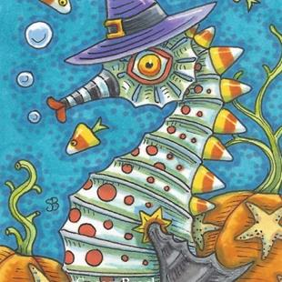 Art: SEAHORSE HALLOWEEN Candy Corn by Artist Susan Brack