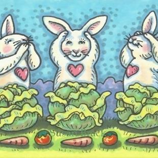Art: CABBAGE PATCH BUNNIES SEE NO EVIL by Artist Susan Brack