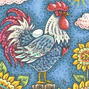Art: ROOSTER N' SUNFLOWERS by Artist Susan Brack