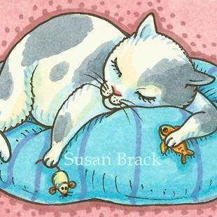 Art: BEING A CAT IS EXHAUSTING by Artist Susan Brack