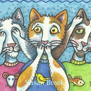 Art: ALLEY CATS SEE NO EVIL by Artist Susan Brack