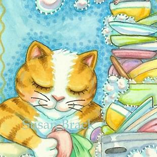 Art: A KITTEN'S WORK IS NEVER DONE by Artist Susan Brack