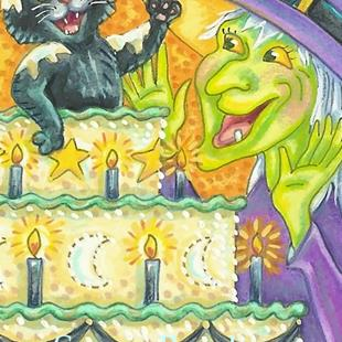 Art: BLACK CAT BIRTHDAY SURPRISE by Artist Susan Brack