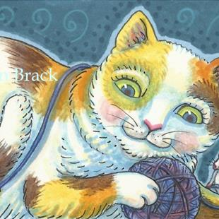 Art: CALICO KITTEN, MOUSE AND YARN by Artist Susan Brack