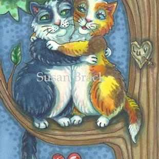 Art: CAT CANOODLES by Artist Susan Brack